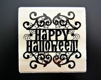 HAPPY HALLOWEEN! Wood Mount Rubber Stamp
