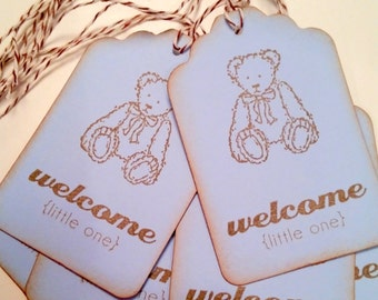 Blue Teddy Bear Baby Shower  Gift Tags