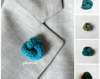Men lapel pin. Knot lapel button. Green shades: ultramarine, pistachio, teal, forest. Wool lapel pin. Custom buttonhole.  Boutonniere.