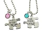 You Are the Missing Piece to My Puzzle - Personalized Birthstone Matching Puzzle Piece Necklaces - Set of 2 - For Best Friend or Couples