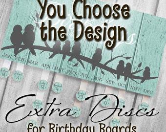 Set of Extra Discs for Personalized BIRTHDAY BOARD Family Birthdays Teacher Classroom Birthday Organizer Grandparent Gift BB0010
