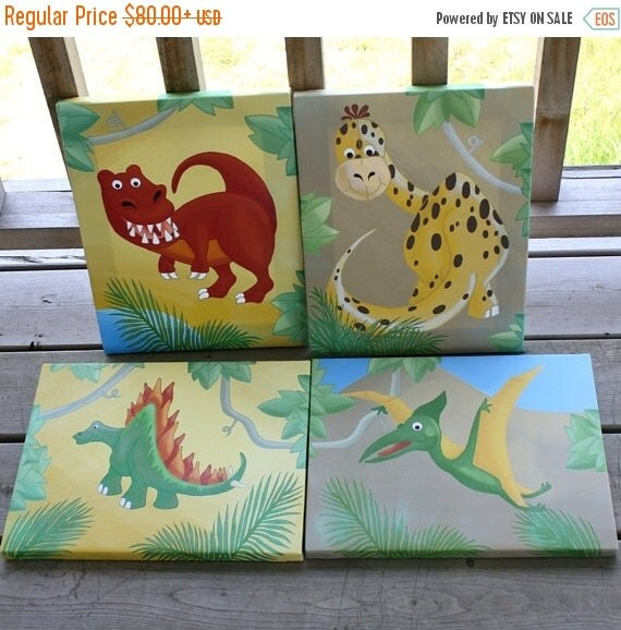 THANK YOU SALE Set of 4 Dinosaur on Stretched Canvases Kids Canvas Bedroom Wall Art 4Cs031