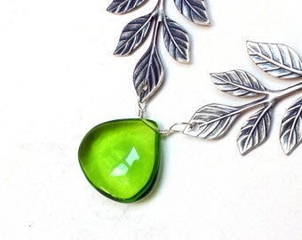 Green Quartz Necklace, Leaf Necklace, Sterling Silver - Elven Leaf by CircesHouse on Etsy