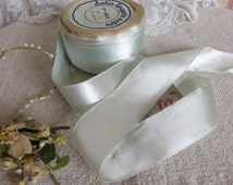 Roll of Vintage French Satin Lingerie Ribbon, Pretty Pale Duck Egg Blue Ribbon, Wide Vintage Ribbon, Vintage Sewing Costume Fashion