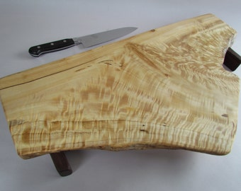 Eco natural live edge CURLY raised cottonwood LARGE serving board