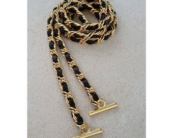 Petite GOLD Chain Strap with Leather Weave - Double Curb Chain - Choice of Length & Hooks