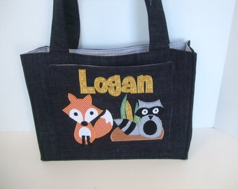 Fox and Raccoon Applique Diaper Bag Personalized Denim - made to order - woodlands nursery - baby boy diaper bag - denim diaper bag - tote