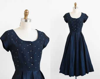 vintage 1940s dress / 40s dress / Navy Midnight Blue Taffeta Evening Dress with Rhinestones