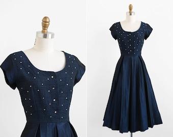 vintage 1940s dress / 40s dress / Navy Midnight Blue Taffeta Evening Dress with Rhinestones