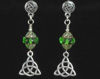 Celtic Knot Earrings, Unique Silver Irish Earrings, Green & Silver Long Post Earrings, Celtic Earrings, Unique Celtic Jewelry Gift for Women