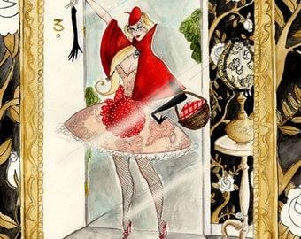 Red Riding Hood/Mirror 8x12 inch glittery print