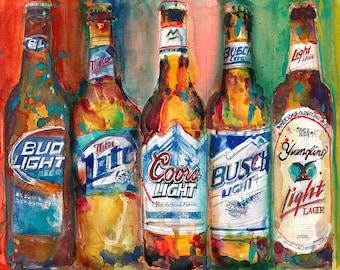 Bud light Miller Lite Coors Light Busch Light Yuengling Light Combo Beer Art Print