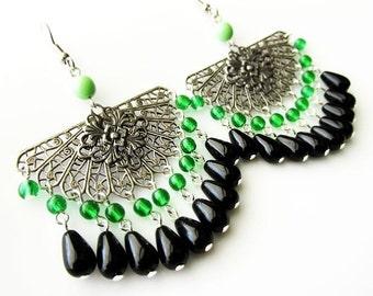 Bohemian Antique Silver Filigree and Black Glass Fringe Earrings