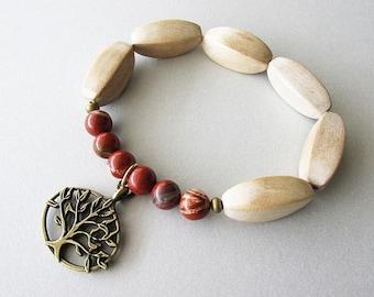 Beaded Wooden Stretchy Tree of Life Bracelet | Hippie Boho Style Jewellery for Women | Earthy Rustic | Yogi Gift | White Wood Red Jasper