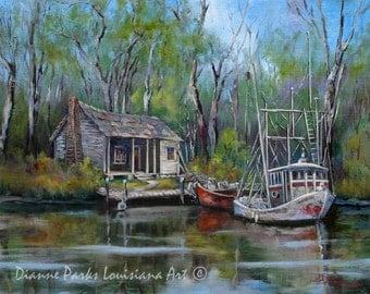 Louisiana Bayou Swamp Art, Shrimp Boat and Cabin Landscape Painting, Wildlife Art, Louisiana Swamp, Marine Fishing Art - 'Bayou Shrimper'
