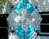 Stained Glass Suncatcher in Sky Blue and Iridescent Clear with Glass Crystal Prism
