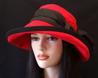 Scarlett Cotton Sun Hat in Red with Wide Brim with long black removable scarf and belt loops in the hat