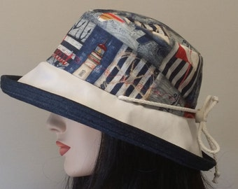 Sunblocker - Navy, Red and White  large brim sun hat with white and navy denim brim and trim with adjustable fit