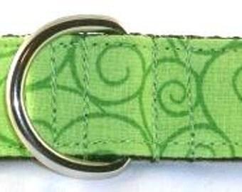 1 inch green greyhound martingale dog collar, lime green, festive, vines, decorative, twists, swirls, curls--Swirls-Lime