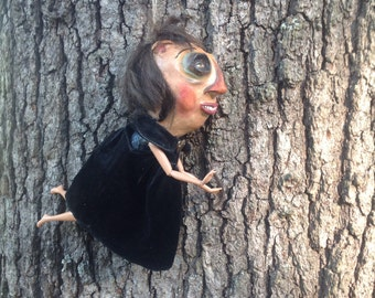 Handmade unique doll ornament Kitchen Witch.Halloween House Elf doll paper mache doll