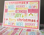 Christmas Card Set : 4 Hand-Stamped Greeting Cards with Matching Embellished Envelopes - Girl Sparkle