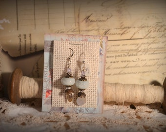 Vintage Inspired Earrings-  Dove grey lampwork beads with sterling silver