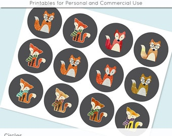 Fox Watercolor Glitter 2.5in and 2 Inch Circle Digital Collage Sheet Download Printable Images for Gift Tags Cards Scrapbooking JPG