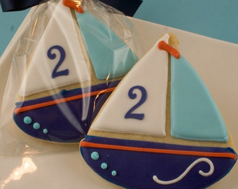 Sailboat cookies Beach Nautical Summer party - 12 Decorated Sugar Cookie Favorsa