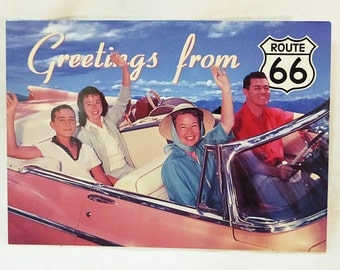 Greetings from historic route 66 family in car postcard unposted new