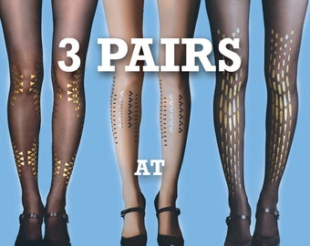 SALE! Save 15% off on 3 pairs (sheer tights/gold tattoo tights/ Opaque tights/full length/S-M, L-XL)