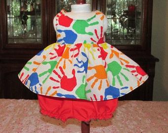 "18"" Doll Sundress and Bloomer Set, Handprints"