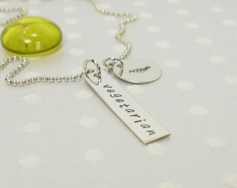 Vegan, Vegetarian or Pescetarian - Personalized Bar Necklace - Hand Stamped Necklace - Personalized Jewelry - Sterling Silver Bar Necklace