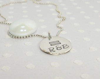 LGBT Marriage Equality Necklace - Lesbian Wedding Jewelry - Marriage Equality Gift - Personalized Charm Necklace - Hand Stamped Necklace