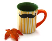 Mustache Mug, Moustache Mug, Yellow orange green, Double Sided, Kiln Fired, No shave November, handmade mug,Movember