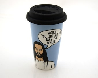 Jesus Travel Mug, Take the Wheel, eco travel cup with silicon lid, funny religious gift, pottery and ceramics
