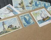 New England .. Nautical .. UNused US Vintage Postage Stamps  .. post 5 letters