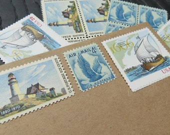 New England .. Nautical .. UNused US Vintage Postage Stamps  .. post 5 letters