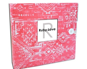 BABY BOOK | Coral Sioux Tribal Baby Book | Ruby Love Modern Baby Memory Book
