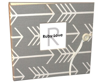 BABY BOOK | Gray Arrows Silhouette Album | Ruby Love Modern Baby Memory Book