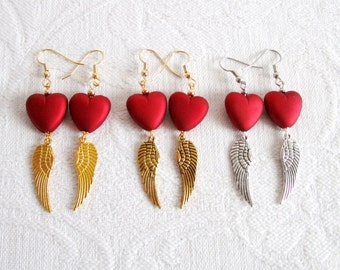 On the Wings of Love, Pierced or Clip On Earrings