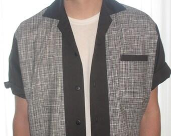 Men's Rockabilly Shirt Jac Black & White Lines