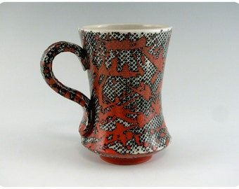 Etched Porcelain Mug With Splatters