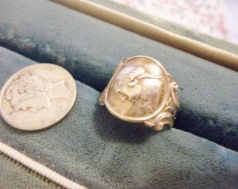 Ornate Vintage T.H. Marthinsen Norway ESPN George Washington Spoon/Wrap Ring