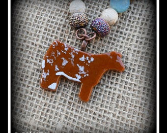 Glass Shorthorn Show Steer, Cattle, Heifer, on Beaded necklace approx 23""