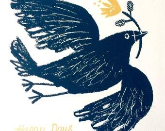 Happy Days, Slate Grey Bird, original hand pulled screen print