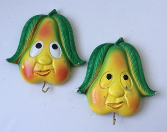 Anthropomorphic Pear Wall Hooks, Plaster Chalkware Wall Plaques