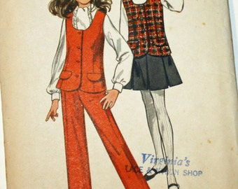 Vintage 1970s, Sewing Pattern, Butterick 5439, Girls' Size 10, Vest, Skirt and Pants, UNCUT, FF