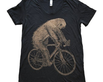 Womens SLOTH bicycle T Shirt - xs s m l xl - Black