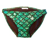 Mermaid Bikini Bottoms GREEN // Ariel The Little Mermaid Low Rise Swim Suit Bottoms