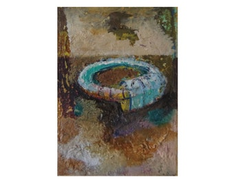 Miniature Painting,Original abstract oil painting on canvas paper 3.5 x 2.5 inches, Orborus